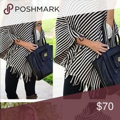 a393ae78a1f Stripe Poncho Covers like a coat. 3 only Sweaters Shrugs   Ponchos