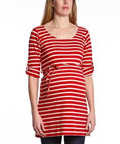 Look what I found on #zulily! Red & Oatmeal Stripe Maternity Scoop Neck Tunic by Oh! Mamma #zulilyfinds