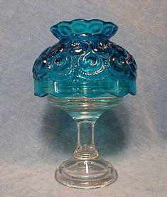 Blue fairy light lamp. #glass #blue #antique #vintage #lamp #decor