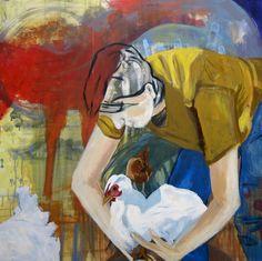 """EvaSchlitzer """"Menschlichkeit"""", 100 x 100, Acryl auf Leinen, 2017"""