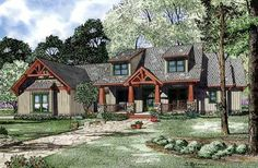 Bungalow Style House Plans - 2373 Square Foot Home , 1 Story, 4 Bedroom and 3 Bath, 3 Garage Stalls by Monster House Plans - Plan 12-1127
