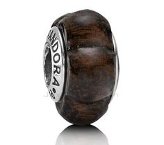Pandora Silver coraçao de negro wooden bead