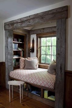 """Rustic heavy timber beams, a comfy place to relax, storage for your reading matter, a place to put your coffee (or glass of wine), good natural light."""