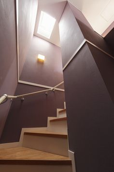 Staircase painted in Sydney Harbour Stone Paint color: Incence