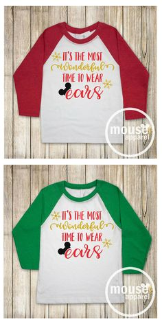 Super cute kids' baseball tee with a Disney Christmas pattern. In red or green. Kids sizes XS-XL NNT #afflink #christmas #tshirts #kids #kidsfashion #disney #shirtstops #GIFTIDEA #christmasgifts #giftidea #gift kids baseball tee shirts | kids baseball tee |