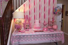 Full view of sweets table. Table cloth just fabric from Joann's. Balloon from Giant Eagle. Fabric covered letter made with cardboard letter from Joann's.