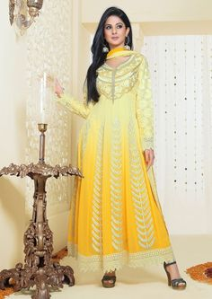 Shop Now Simplistic Yellow Colored Viscose Georgette Suit Online From Buysellfast