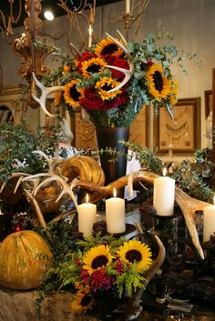 Romancing the Home: Sunflowers, cockscomb, eucalyptus and antlers