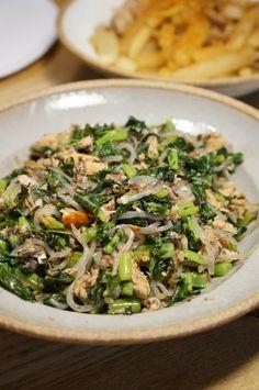サバ缶と大根の葉で!糸こんにゃくのペペロンチーノ炒めレシピ
