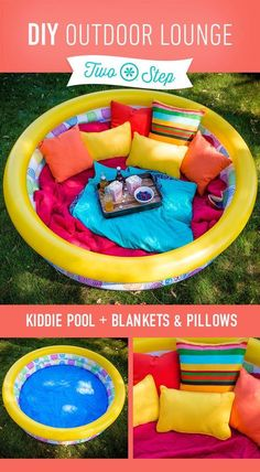 Snack time in a Comfortable Outdoor Lounge. Blow up a kiddie pool and fill it with blankets and pillows.