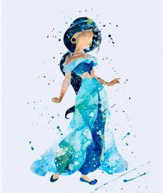 Prinzessin Jasmin Aladdin Aquarell Kunstdruck - I love disney - Disney E Dreamworks, Disney Films, Disney Pixar, Disney Characters, Disney Ships, Disney Villains, Disney Amor, Cute Disney, Disney Magic