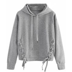 Gray Lace Up Detail Long Sleeve Drawstring Hoodie (€25) ❤ liked on Polyvore featuring tops, hoodies, sweaters, jackets, shirts, grey hoodies, long-sleeve shirt, gray long sleeve shirt, grey hoodie and laced up shirt