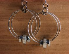 Dangle Hoop Earrings Wire Wrapped Hardware by additionsstyle