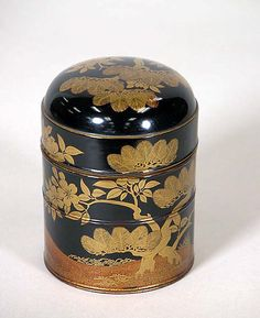 Lunchbox with lid and five silver chopsticks and rests Period: Edo period (1615–1868) Date: 3rd quarter of the 19th century Culture: Japan Medium: Black lacquer decorated with sprinkled gold; silver