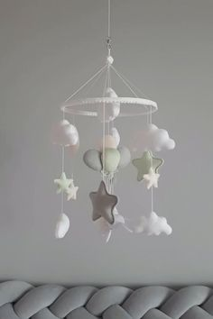 Baby mobile girl, Bunny on balls mobile, Mint star cloud mobile, Nursery mobile - Mint baby mobile for nursery with bunny on a bunch of balls and stars, clouds. You can choose any c - Baby Room Diy, Baby Bedroom, Baby Boy Rooms, Baby Room Decor, Nursery Decor, Diy Baby, Baby Mädchen Mobile, Cloud Mobile, Felt Mobile