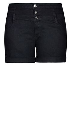 City Chic - SHORT HI WAIST SHORT – BLACK  - Women's Plus Size Fashion - City Chic Your Leading Plus Size Fashion Destination #citychic #citychiconline #newarrivals #plussize #plusfashion #denim #jeans