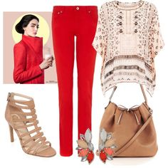 Accessorize #tunics, A.P.C. #red jeans and Vince Camuto #gladiator sandals.