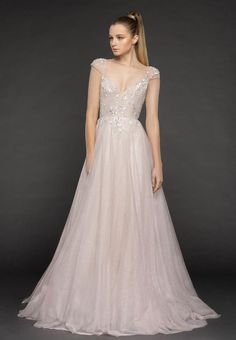 Style 1861 Amour Blush by Hayley Paige bridal gown - French lilac starlight tulle A-line gown, embroidered cap sleeve bodice with sweetheart neckline and low scoop back, full A-line tulle skirt. Formal Dresses For Weddings, Wedding Dresses For Sale, Wedding Dress Sizes, Princess Wedding Dresses, Plus Size Wedding, Wedding Suits, Designer Wedding Dresses, Bridal Dresses, Wedding Gowns