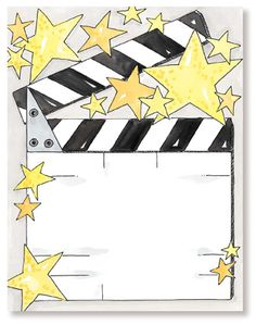 Hollywood Theme Free Printables   ... personalize your card with any of these free back layouts for free