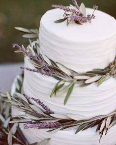 different type of wedding cake with lavender and sage. This would also look good on a 'cheese' wedding cake
