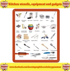 Kitchen utensils, equipment and gadgets vocabulary