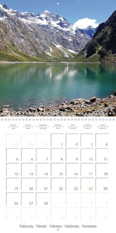 "Reisekalender mit Planer ""New Zealand – Variety of the South Island"", Kalenderblatt Februar: Lake Marian"