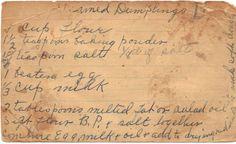 Old Handwritten Reciped Card -steamed dumplings Retro Recipes, Old Recipes, Cookbook Recipes, Vintage Recipes, Baking Recipes, Bread Recipes, Chicken Recipes, Steamed Dumplings, Dumpling Recipe