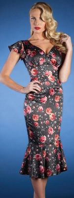 Stop Staring 1940's Style Black & Pink Rose Print & Polka Dot Wiggle Dress - S to 3X $120.00