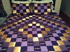 Crown Royal Quilt with Satin Diamond Pattern with matching Pillow Shams #CrownRoyal