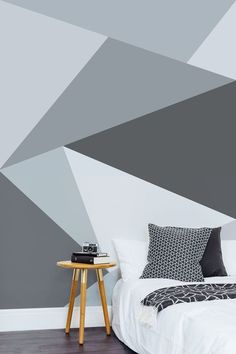 Create your own Scandi inspired bed v room with this sleek geometric wallpaper design. A modern twist on traditional grey wallpaper. Geometric Wallpaper Design, Geometric Wall Paint, Geometric Shapes, Geometric Decor, Geometric Designs, Bedroom Murals, Bedroom Themes, Bedroom Decor, Bedroom Ideas