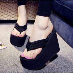 181badcde84fe Women Sexy High Heels Flip Flops Slippers Wedge Platform Beach Shoes  Platform Flip Flops