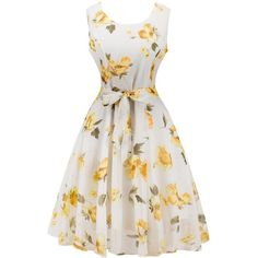 Retro Belted High Waisted Floral Print Dress ($15) ❤ liked on Polyvore featuring dresses, white day dress, flower pattern dress, retro dresses, floral dresses and retro style dresses