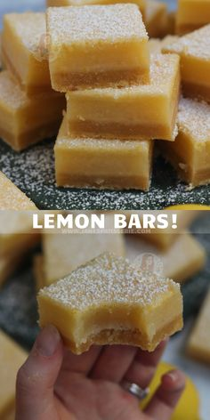 Easy Five Ingredient Lemon Bars - Soft Delicious Buttery Shortbread, Smooth Sharp Lemon Curd Topping! Lemon Recipes, Baking Recipes, Sweet Recipes, Healthy Recipes, Just Desserts, Dessert Recipes, Janes Patisserie, Easy Family Meals, Family Recipes