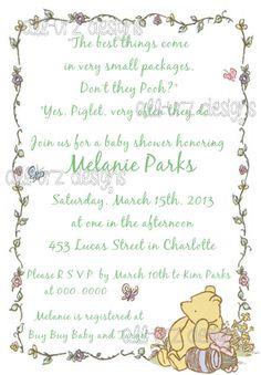Classic Pooh Personalized Invitations 5x7 inches by allurzdesigns,