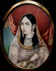 Posthumous portrait of Mumtaz Mahal, wife of Mughal Emperor Shah Jahan (1592-1666). Anglo-Indian tradition at Delhi, ca 1840.