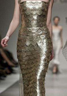 THIS IS FABULOUS Georges Chakra scales gold dress