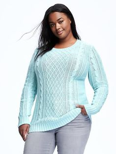 Plus Size Cable-Knit Pullover