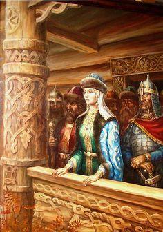Russian costume in painting. Mikhail N. Shchrilyov. Grand Princess Olga of Rusꞌ (ancient Russia). 1994. #art #folk #painting #Russian