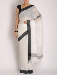 White-Black Linen Handwoven Saree