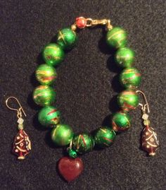 Handcrafted Red Green Gold Beads Christmas Holiday Winter Solstice Bracelet - Earring Set Women #etsy #christmas #christmasjewellery Accessories Christmas gift