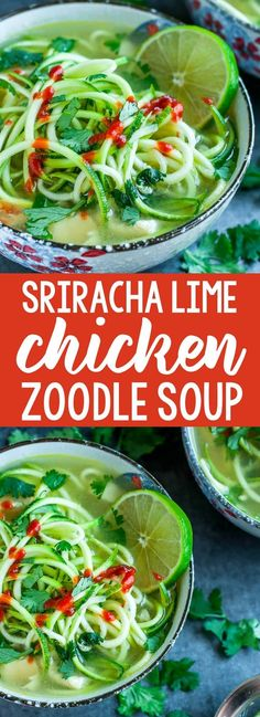 Short on time? Try this speedy and spicy sriracha lime chicken zoodle soup! Zucchini noodles have never tasted so good! Short on time? Try this speedy and spicy sriracha lime chicken zoodle soup! Zucchini noodles have never tasted so good! Chili Recipes, Paleo Recipes, Low Carb Recipes, Soup Recipes, Chicken Recipes, Dinner Recipes, Zuchinni Recipes, Dessert Recipes, Healthy Pumpkin