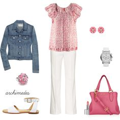 """May Flowers"" -- [In This Outfit~~H Blouse; Max Mara Eliadi White Straight Leg Cotton Pants; Rag & bone *The Jean Demin Jacket*; See by *Chloe* Flat Sandal; light pink flower stud earrings; pink flower stretch ring (from amazon); Fossil Silicone Watch; Miu Miu Leather Tote Grained (from Fuss Modaby) and Viva La Diva Lipstick.]~[Created by archimedes16]'h4d'"
