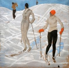 Alfons Walde - Zwei Skifahrerinnen (1925) Figure Painting, Figure Drawing, Painting & Drawing, Cardboard Painting, Kunst Online, Museum, Vintage Ski, Retro Illustration, Grafik Design