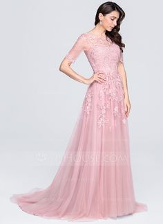 A-Line/Princess Scoop Neck Court Train Appliques Lace Zipper Up Sleeves 1/2 Sleeves No Other Colors Winter Spring Fall General Plus Tulle Evening Dress