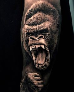 Tattoo artist Sergio Fernandez Tattoos for men Tattoo artist Sergio Fernandez Upper Arm Tattoos, Forearm Tattoos, Body Art Tattoos, Tribal Tattoos, Belly Tattoos, Tattoos Skull, Gorilla Tattoo, Gorilla Ink, Animal Sleeve Tattoo