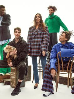 Dolan and his dog Maisie (seated left) with models Tommy Blue (top left), Nora Attal (center), Xel (top right), and Robert Rossellini (seated right), all in Matthew Adams Dolan; matthewadamsdolan.com.