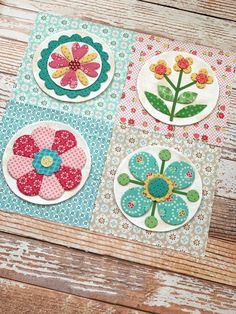 Granny's Garden Sew Along – Week 3 – Riley Blake Designs Circle Quilt Patterns, Circle Quilts, Applique Patterns, Mini Quilts, Applique Quilts, Square Quilt, American Patchwork And Quilting, Modern Quilt Blocks, Sewing Circles