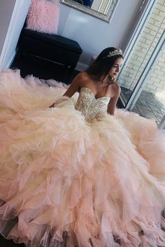 Princess Sweetheart Pink Quinceanera Dress with Beaded Top dress, Pink Quinceanera Dress with Ruffles Rose Gold Quinceanera Dresses, Robes Quinceanera, Sweet 15 Dresses, Pretty Dresses, Beautiful Dresses, Pink Dress, The Dress, Quince Dresses, Quencenera Dresses