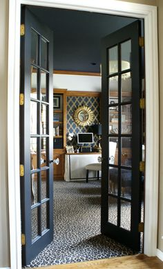 Our Office, Game Room, Craft Room, Music Room // leopard carpet, navy painted ce… – Tv Room Black French Doors, Black Doors, Narrow French Doors, French Doors Bedroom, Bedroom Doors, White Bedroom, Home Staging, Interior Design Elements, Interior Modern