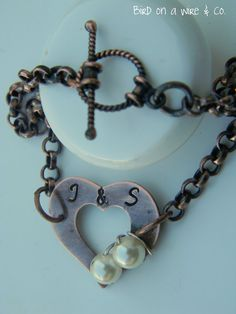 Copper Hand Stamped Heart Toggle Bracelet  by Birdonawirejewelry, $40.00
